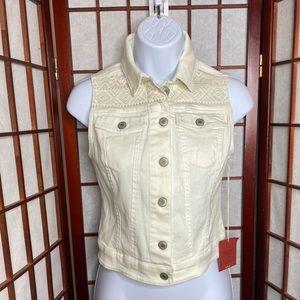 Mossimo nwt white denim button down vest